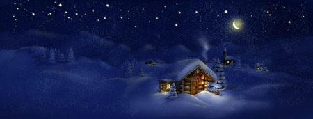 lodges: Christmas night, winter, scenic village panorama - wooden hut, lantern, snow, pine trees, church, Moon, stars  Copy space, illustration