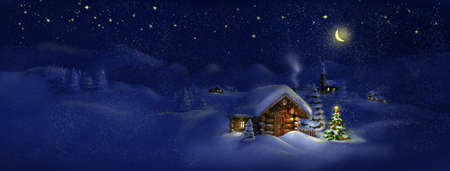 snowy mountains: Christmas tree, lights in front of log cabin, scenic village panorama  Copy space, illustration  Suitable for postcard Stock Photo
