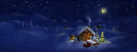 country church: Santa Claus with sledge, presents and deers by log cabin with Christmas tree, scenic village panorama  Copy space, illustration Stock Photo