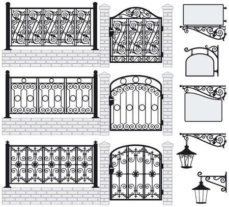 hierro: Conjunto de hierro forjado cercas, puertas, letreros y linternas con adornos decorativos ilustración vectorial Vectores