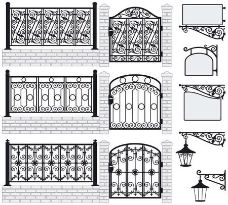 columns: Set of iron wrought fences, gates, signboards and lanterns with decorative ornaments  Vector illustration
