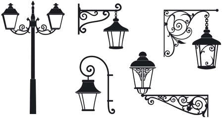 Iron wrought lanterns with decorative ornaments  Vector illustration