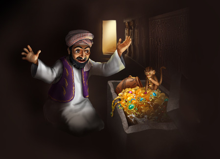 discovering: Treasure of Egypt - Arabic man in traditional clothing and monkey discovering treasure chest with gold artifacts - funny cartoon illustration Stock Photo