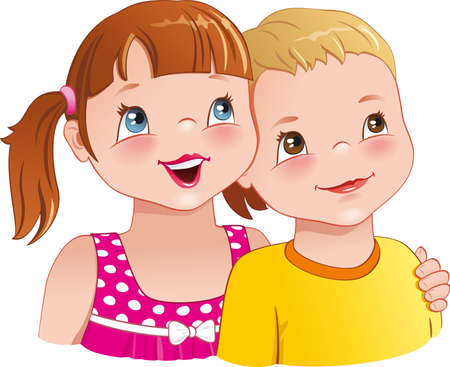 Little girl hugging a boy - cute kids looking up and smiling happily   Vector
