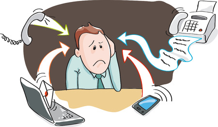 fax: Office worker, businessman - burnout by information overload by electronic devices - smartphone, telephone, fax, e-mail. Vector illustration