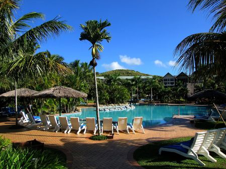 accomodation: Pool and blue sky (Resort at Fiji)