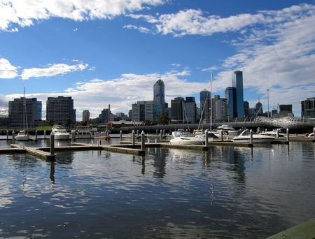 View of Melbourne and Yarra river from Docklands side (Melbourne, Australia)