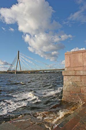 Cable bridge over the Daugava river (Riga, Latvia, Europe) photo