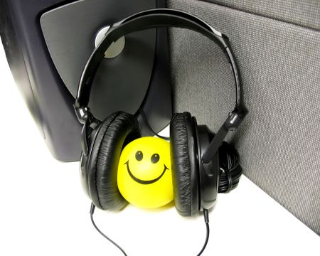 Smiling face and the headphones photo