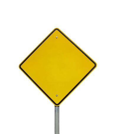 hazard sign: Empty yellow warning road sign (isolated on white) Stock Photo