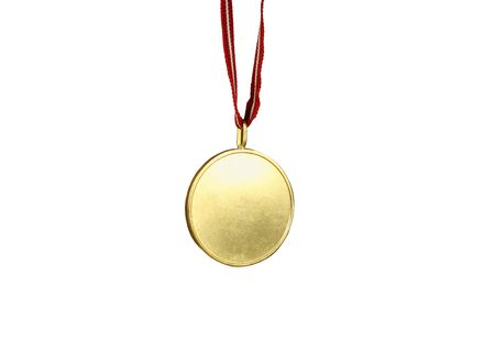 Gold medal with red and white ribbon (isolated on white).  Blank center is ideal for any text. Stock Photo - 718994