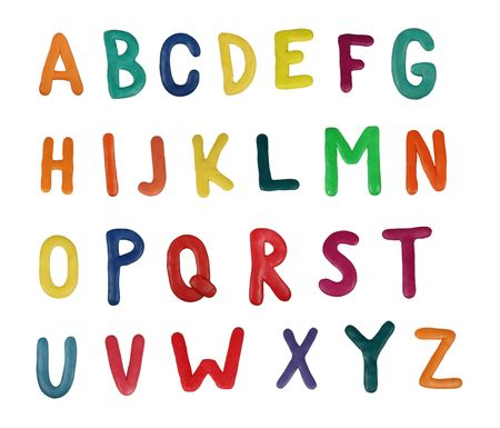 Colorful alphabet made from plasticine (isolated on white). Use it to make your own message Stock Photo - 728429
