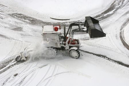 snow plow: Snow Plow on small city road intersection