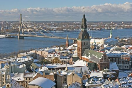 Old city view (Riga, Latvia, Europe) Stock Photo