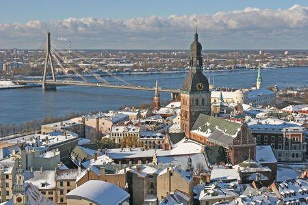 Old city view (Riga, Latvia, Europe) Stock Photo