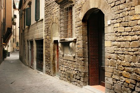 Typical italian street (Florence, Italy) Stock Photo
