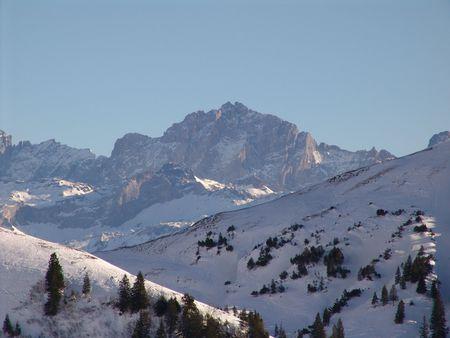 Swiss High Mountain Winter Scene photo
