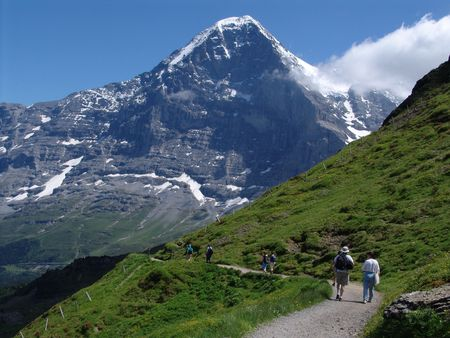 eiger: Hiking in the Shadow of the Eiger Stock Photo