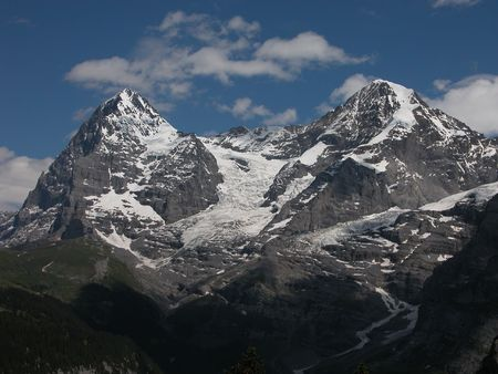 monch: Eiger and Monch with Glacier Stock Photo