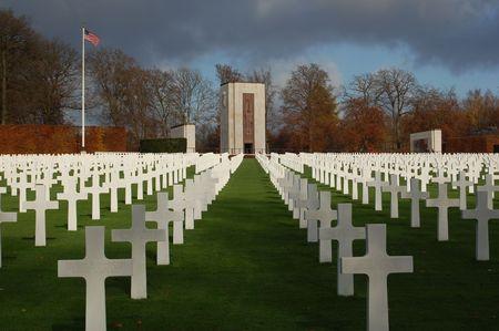 cemetry: Luxemburg Military Cemetery, Crosses and Mounument Stock Photo