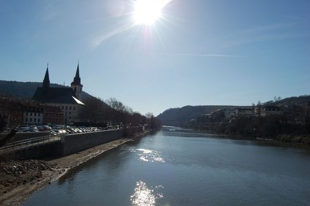 main river: Sun and Reflections on the Main River in bingen, Germany