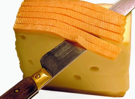 Nothing Superfluous and Unnecessary.Knife and cheese (business concept) photo