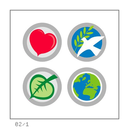 GLOBAL: Icon Set 02 - Version 1. Four colored icons in a circle shaped buttons about some global affairs: Love, Peace, Ecology, & the Earth. photo