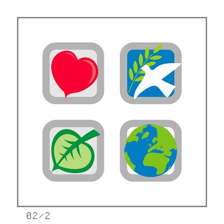 affairs: GLOBAL: Icon Set 02 - Version 2. Four colored icons in a square shaped buttons about some global affairs: Love, Peace, Ecology, & the Earth.