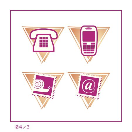 COMMUNICATION: Icon Set 04 - Version 3. Four icons in a triangle shaped buttons about communication. photo