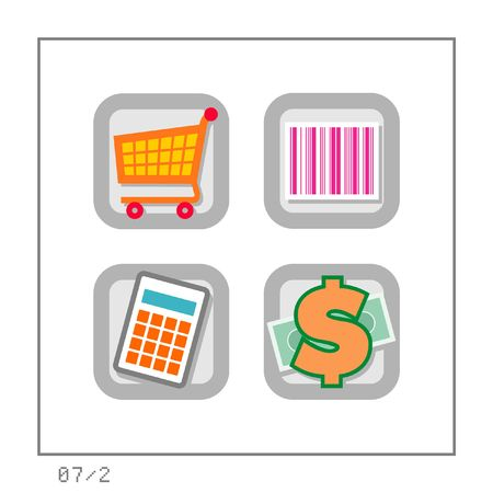 super market: SHOPPING: Icon Set 07 - Version 2. Four colored icons in a square shaped buttons about shopping.