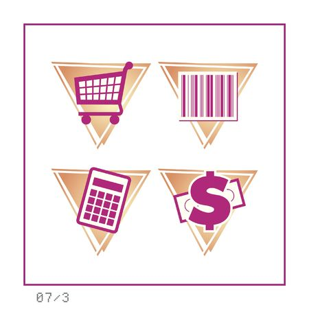 SHOPPING: Icon Set 07 - Version 3. Four icons in a triangle shaped buttons about shopping. photo