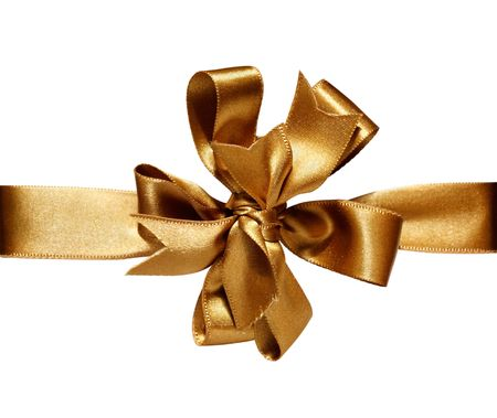 ���clipping path���: Gift golden ribbon and bow isolated on white. The file includes clipping path.