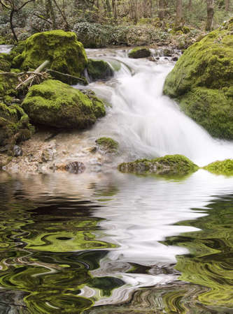 Falls on the small mountain river in Crimea