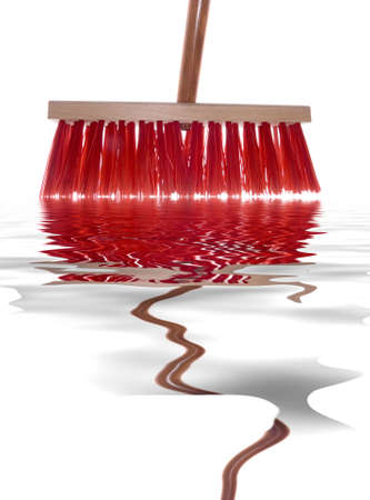 broom handle: The red brush on the wooden handle cleans water from a floor