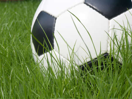 Soccer ball on a lawn from a green grass photo