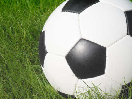 Soccer ball on a lawn from a green grass Stock Photo - 3231128