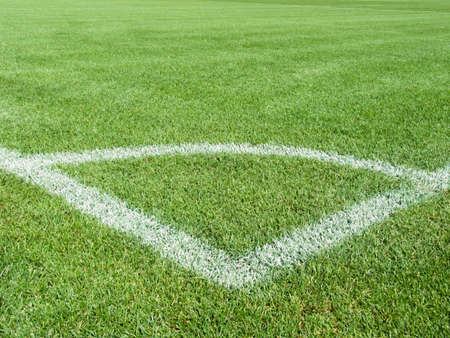 Field for game in football with a green grass and white lines photo
