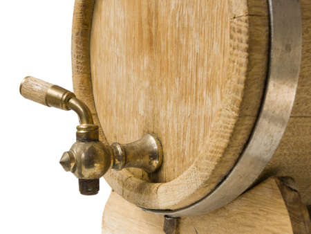 beer and wine: Old barrel for wine on a white background