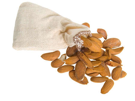 Bag with almond nuts Stock Photo