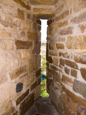 loophole: Loophole in an old fortification, Crimea, Sudak Stock Photo