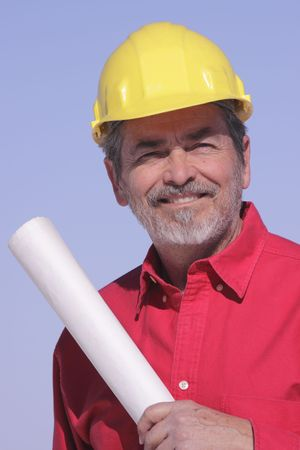 Architect, Contractor with Hard Hat Stock Photo - 6101078