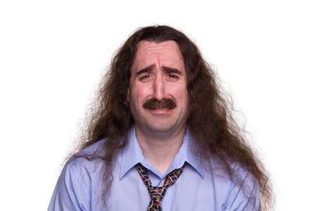 heartsick: Hombre de pelo largo triste llorando con streaming tears1 Foto de archivo