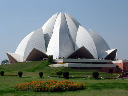 coordinacion: templo del bahi, Nueva Deli, construida en 1986 Foto de archivo