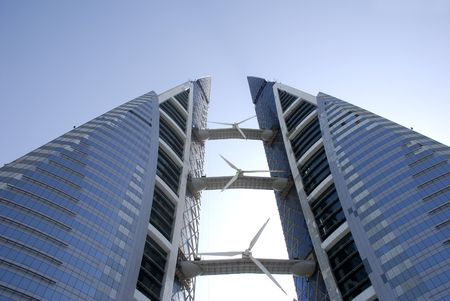 building trade: bahrain world financial centre, towers, under construction