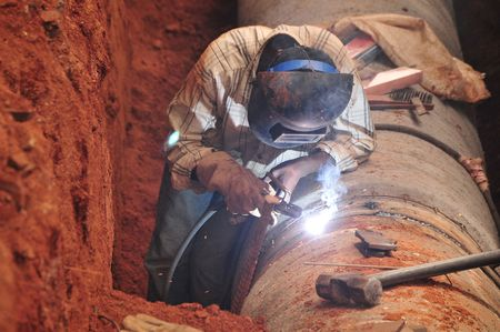 water pipes: welding new water pipes in india
