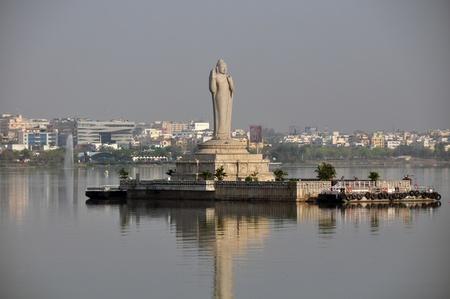 andhra: Buddha at Hussain Sagar lake, Hyderabad, Andhra Pradesh, India