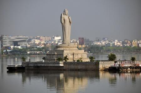 andhra: Buddha, statue, at Hussin Sagar Hyderabad, Andhra Pradesh, India