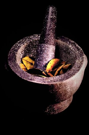 PESTLE AND MORTAR WITH BAYLEAVES