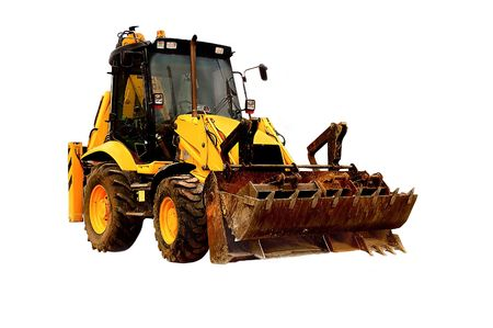 An image of a well used JCB isolated. Stock Photo