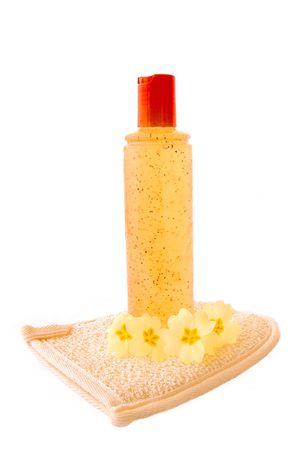 mitt: orange body exfoliator and loofah mitt.